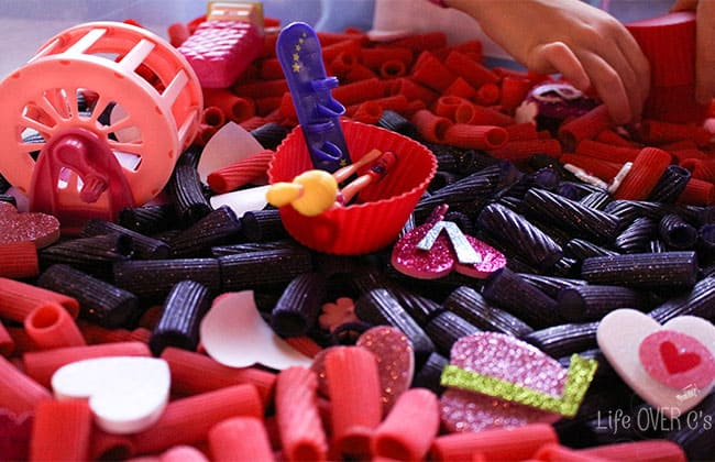 This Valentine Pasta Sensory Bin is so much fun with its bright, bold colors! Add some sensory exploration into your Valentine's Day!