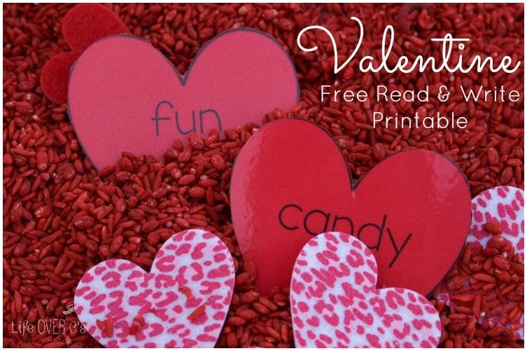 valentine words sensory bin