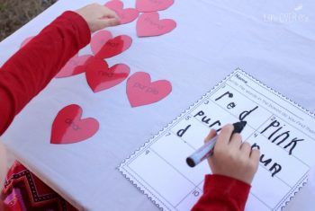 This free Valentine read & write printable can be used in so many ways! What a fun way to practice seasonal words! We're using ours as a sensory bin, matching activity, alphabetical order and a few more things!