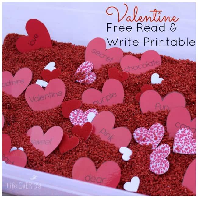 valentine reading sensory bin