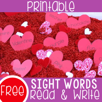 Free printable Valentine sight words activity for kindergarten and preschool.