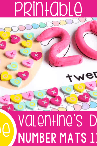Free printable Valentine's Day Number Mats for numbers 11-20. Use play dough with this number mats, along with mini erasers or conversation heart Valentine candies to count to 20.
