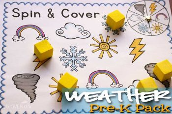 Learning about weather is lots of fun with this free printable weather pre-k pack. The five activities are easy to put together too!