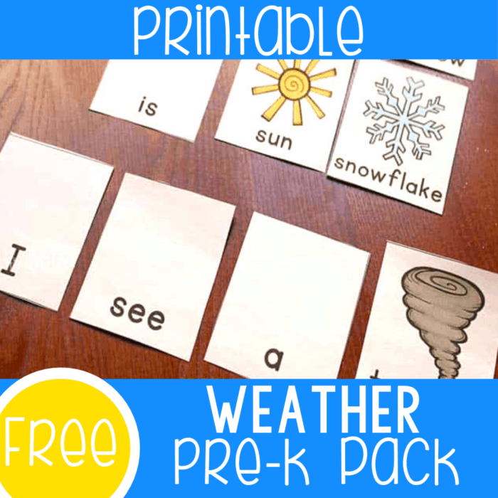 Free printable weather activities for preschool and kindergarten. Matching games for weather terms, emergent reader sentence building with picture support, cover up games and more.