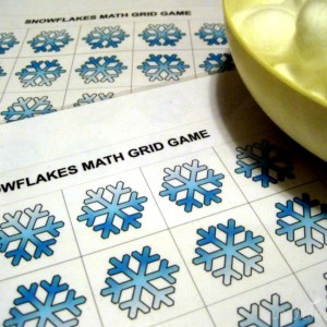 This free printable winter math grid game is so easy to prep and lots of fun for preschoolers!