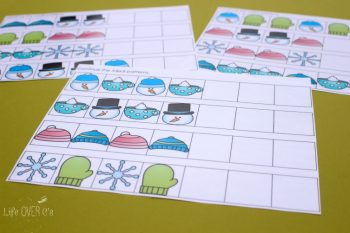 Download these free winter pattern mats for kindergarten and pre-k! Lots of fun with these cute printables!