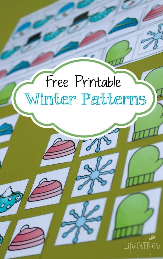 pattern mats free winter printable for kindergarten