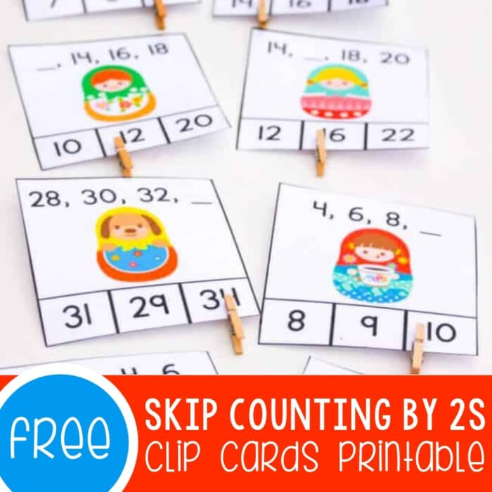 Skip Counting by 2s Clip Cards Featured Square Image