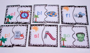 Two-part puzzles for matching beginning blends and digraphs to pictures.