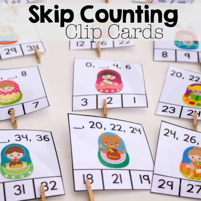 Free Printable Skip Counting Cards for 2s