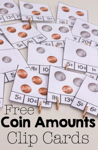 Free counting coins clip cards and great books for learning about coins and money.