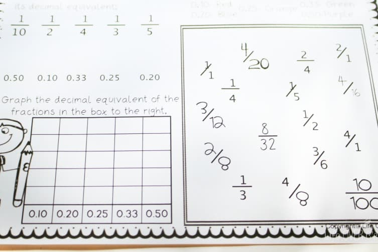 Equivalent Fractions Decimals Free Printable Pack