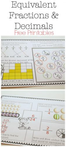 This equivalent fractions & decimals free printable pack has so many ways to reinforce common fractions and decimals! The flip book, graphic organizer and game are all print & go, but still lots of fun!