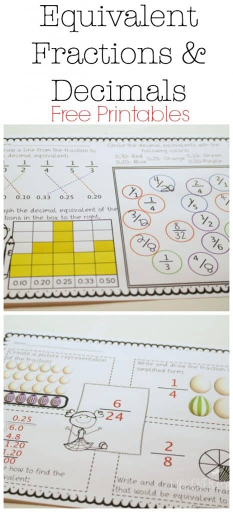 equivalent fractions & decimals free printable
