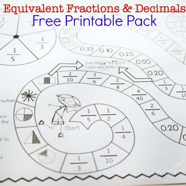 This free printable equivalent fractions & decimals pack is a super fun way to practice common fractions & decimals!