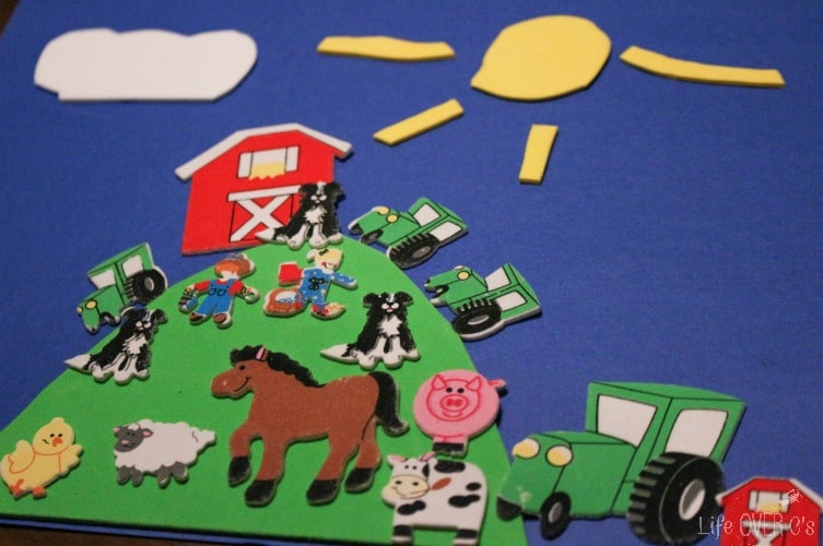 Create a farm animal collage with foam stickers!