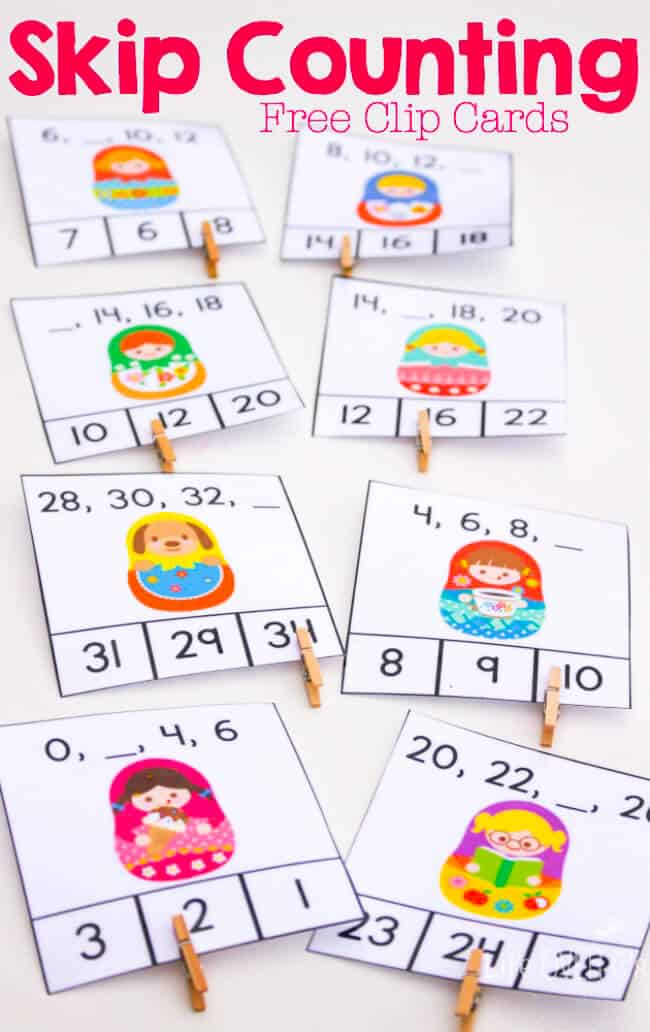 These super cute matryoshka free printable skip counting clip cards are a great way to review counting by 2s with your kindergarteners and 1st graders!