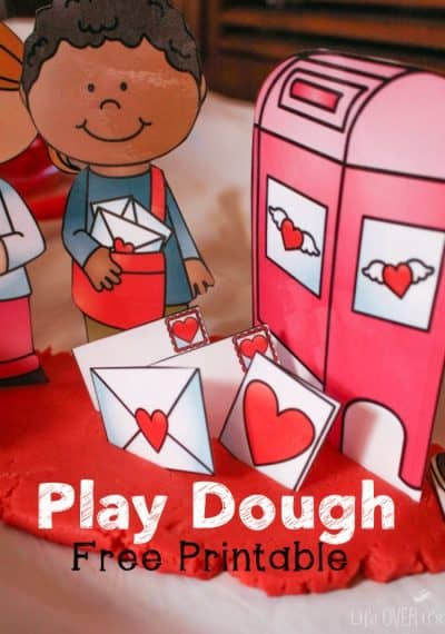 Turn play dough into a pretend play activity with this free play dough printable for Valentine's Day.