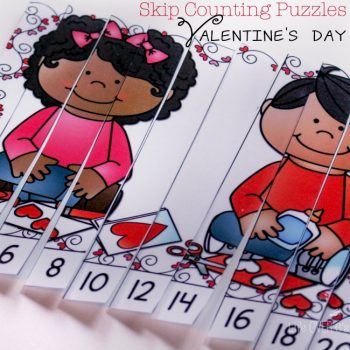 These free printable skip counting puzzles for Valentine's Day are a great way to practice counting by 2s and 5s.