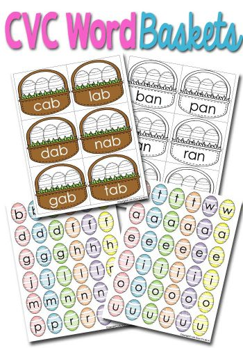 These CVC word baskets are a great way to practice short vowels with your kindergarteners!