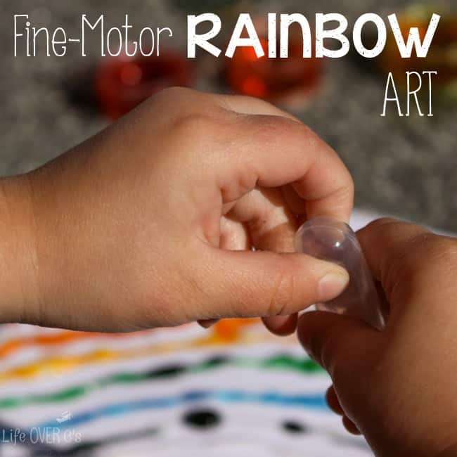 Building fine-motor skills and learning about colors is so much fun with this rainbow art activity!