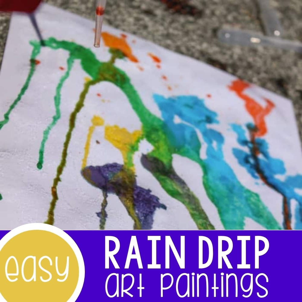 Rainbow Drip Art Paintings with Kids