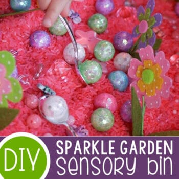 Sparkle Garden Sensory Bin for Preschoolers Featured Square Image