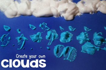 Create your own clouds with your preschooler for a fun art project for your weather theme! Your older kids will love it too!