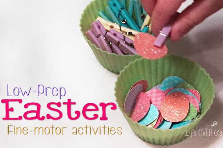These low-prep Easter fine-motor activities are so fun and can be put together in less than 5 minutes!