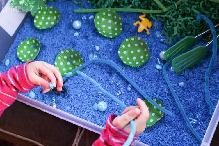 This frog pond sensory is a fun way to explore the life cycle of frogs, learn about their habitat and just have fun!