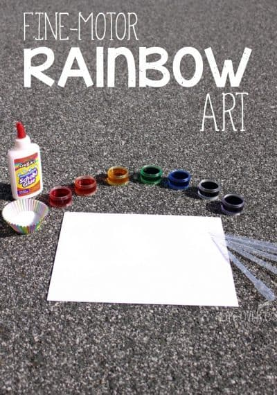 This fine-motor rainbow craft for preschoolers is so much fun! We couldn't stop after we had done the first one!