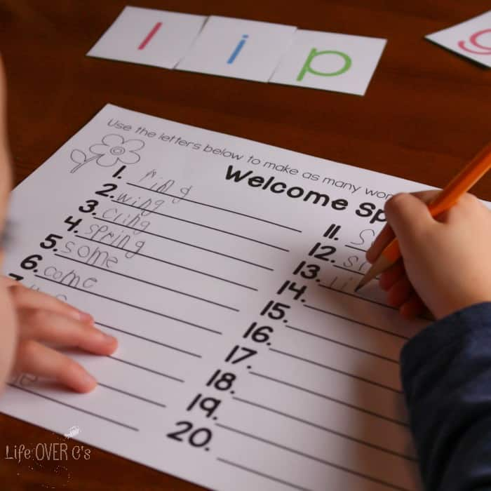 "Use this free spring printable ""Create-a-Word"" activity to practice word building skills. Perfect for any level of reader."