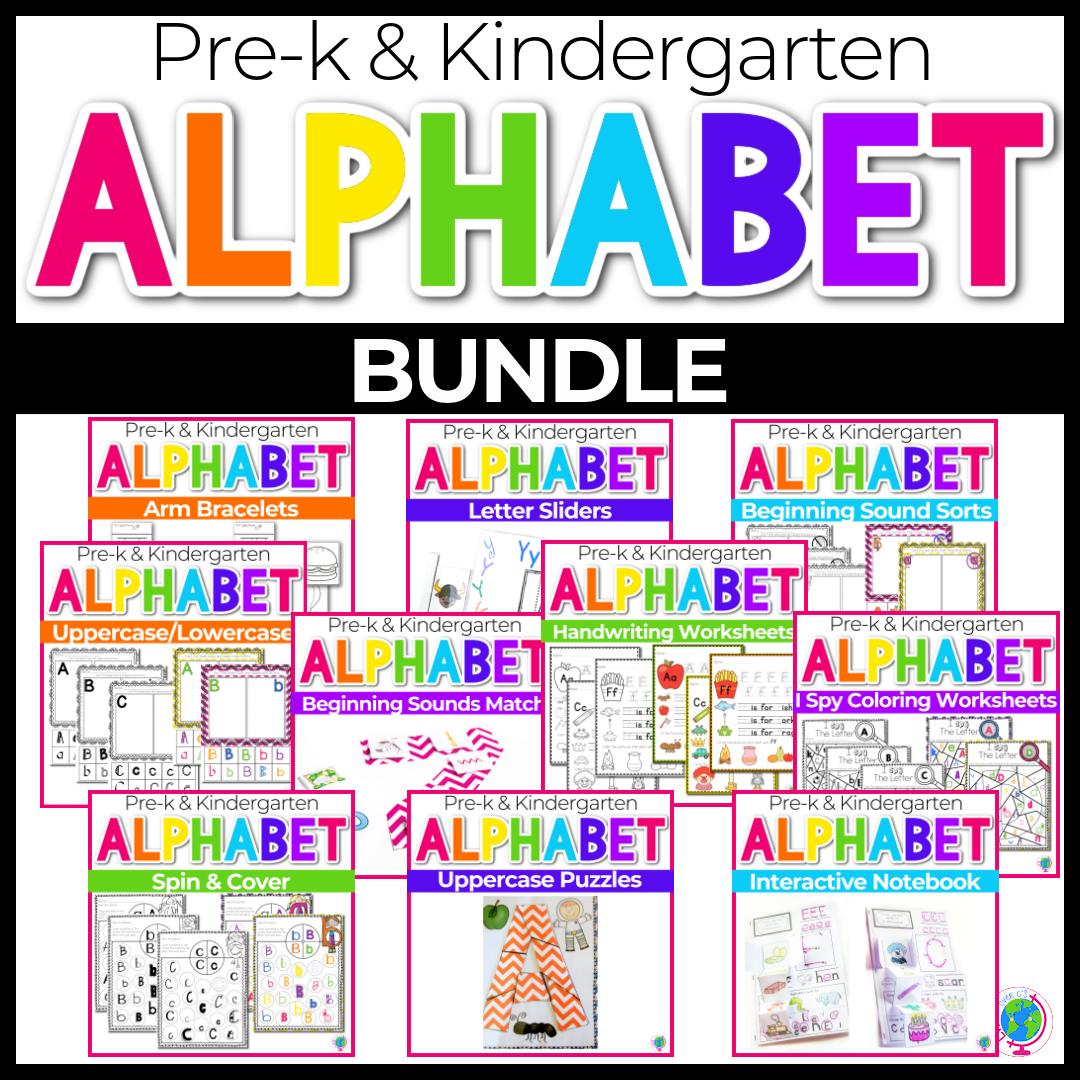 Alphabet No-Prep Printables plus centers: BUNDLE