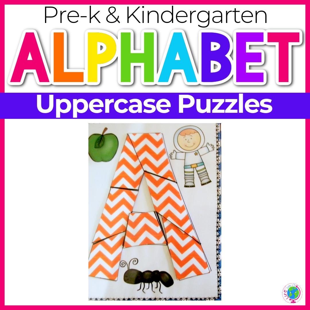 Alphabet No-Prep Printables: Uppercase Letter Puzzles