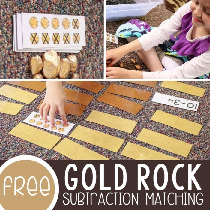 Gold Rock Manipulatives for Math and a Free Subtraction Matching Game Featured Square Image
