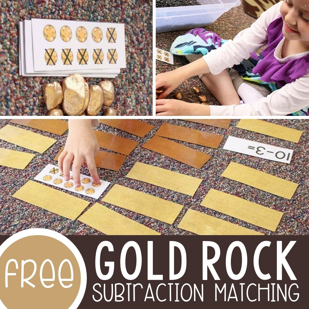 Gold Rock Manipulatives for Math and a Free Subtraction Matching Game