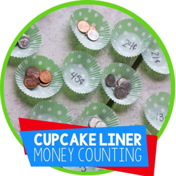 Math with Cupcake Liners Counting Money Game Featured Image
