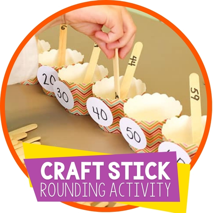 Rounding Numbers to the Nearest Ten with Craft Sticks Featured Image