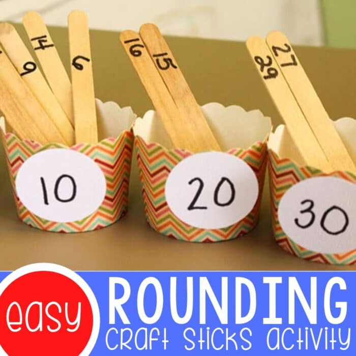 Rounding Numbers to the Nearest Ten with Craft Sticks Featured Square Image
