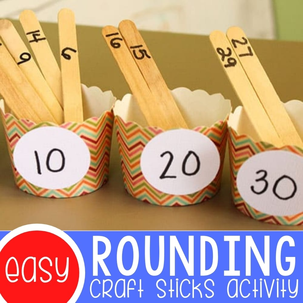 Rounding Numbers to the Nearest Ten with Craft Sticks