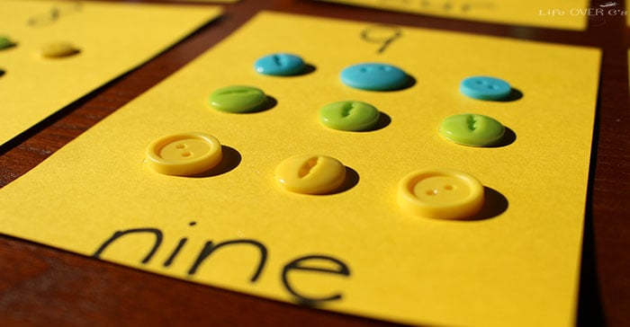 Make some fun button counting cards for a tactile way to practice counting with your preschoolers!