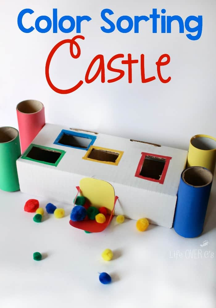 This color sorting castle for preschoolers is great for fine-motor skills and matching colors!