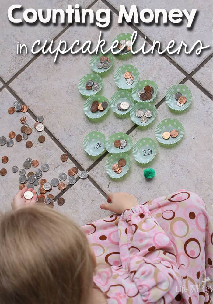 Using cupcake liners for math can be an easy way to prepare a new activity! This counting money game looks like fun, plus there are other suggestions for using the same format!