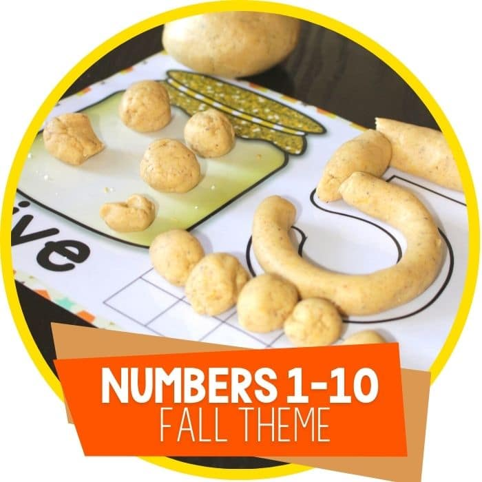 Free Fall Play Dough Number Mats for 1 to 10