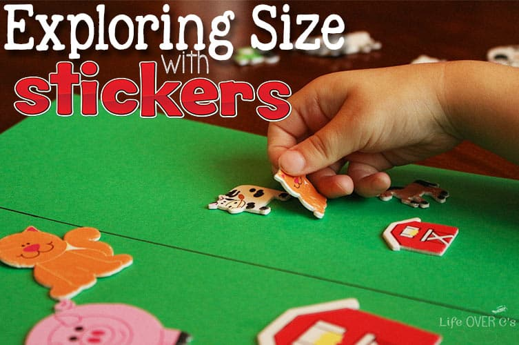 Learn about sizes by using stickers! This farm animal activity for preschoolers is a perfect way to build language skills and learn about size!