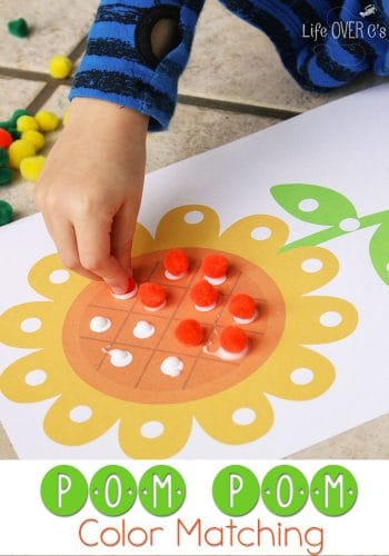 Learning colors with pom poms is so much fun! These free spring printables are perfect for toddlers and preschoolers!
