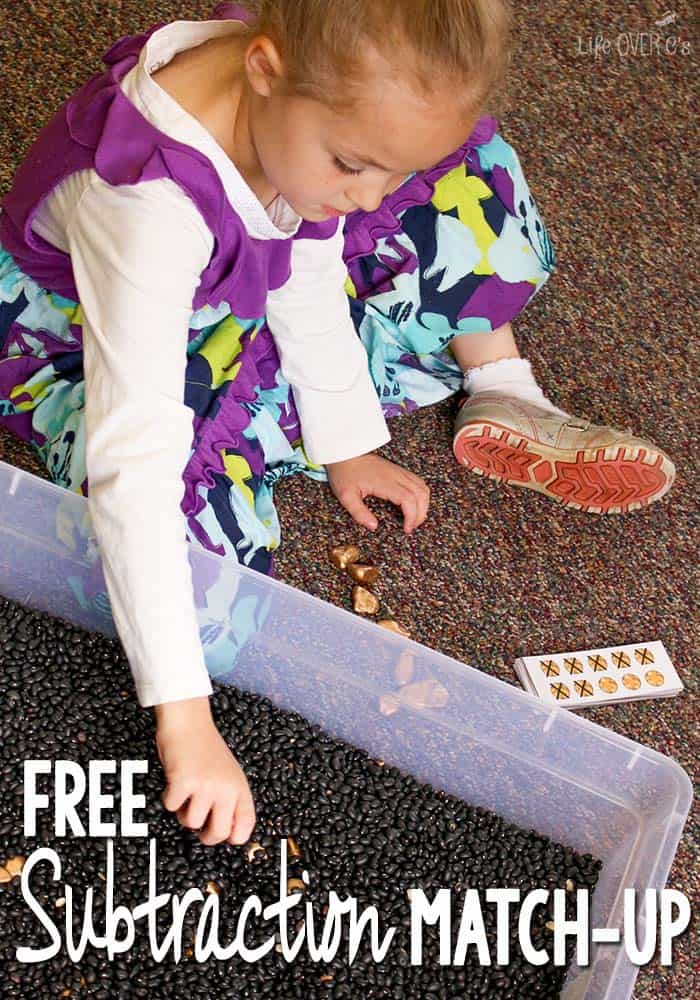 """This free subtraction matching game is perfect to use with """"gold"""" rocks as manipulatives! Dig for gold and practice subtraction at the same time!"""