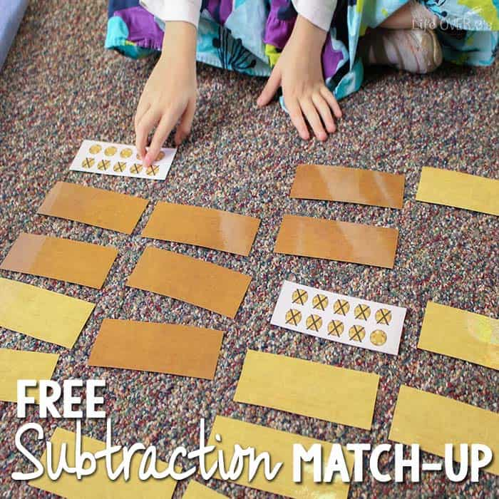 "This free subtraction matching game is perfect to use with ""gold"" rocks as manipulatives! Dig for gold and practice subtraction at the same time!"