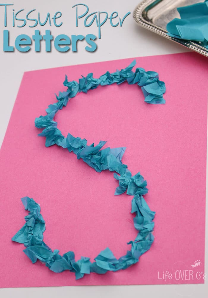 Tissue paper letter activity for preschoolers for Educational crafts for preschoolers