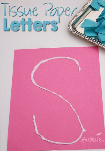 This tissue paper activity is great for practicing letter formation with preschoolers!